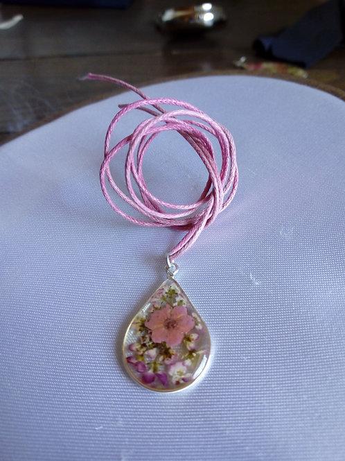 ciondolo goccia, free nichel, fiori:alisso, biancosp. rosa