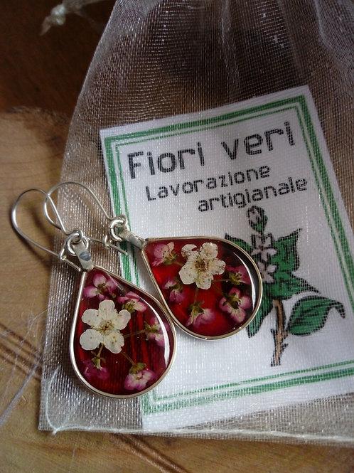 orecchini rosso trasparente,monachella d'argento