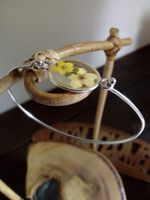 braccialetto filo rigido, free nichel, fiori: biancospino
