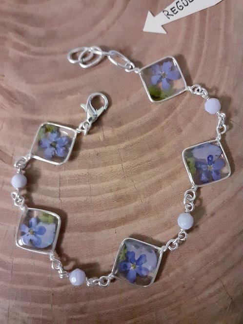 bracciale 5 fiori, free nichel. fiori:miosotys,felcina