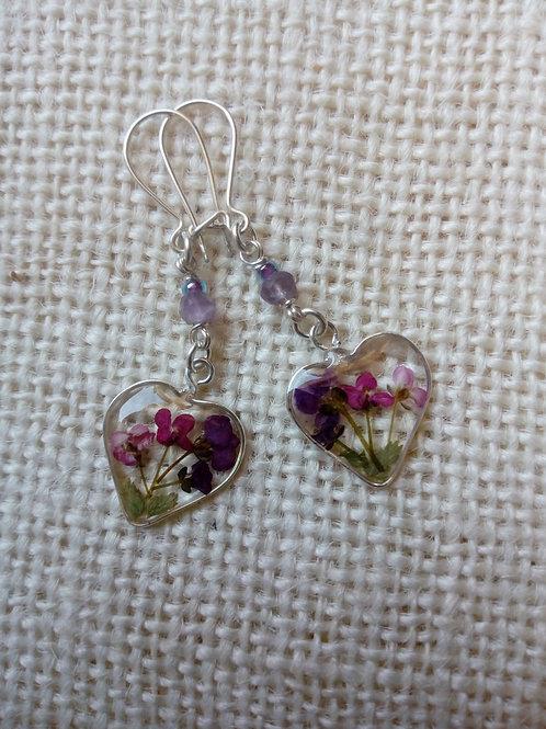 orecchini trap. monachella ag.925, fiori:alisso, felce,pietra:ametista