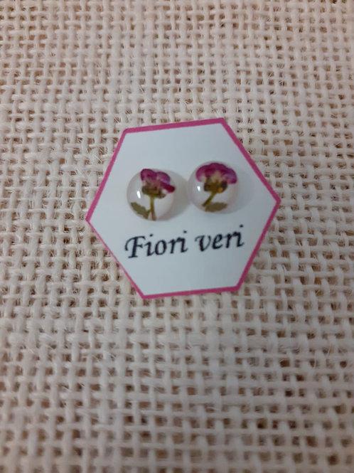 orecchini fondo bianco,nichel free, fiore:alisso fuxia