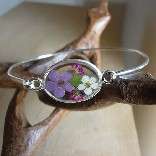 Bracciale rigido fiori veri trasparente