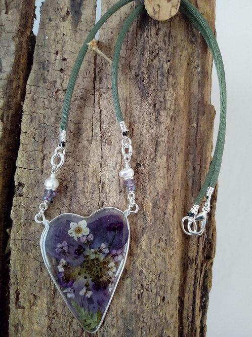 collana-girocollo-free nichel-fiori:petali viola,alisso