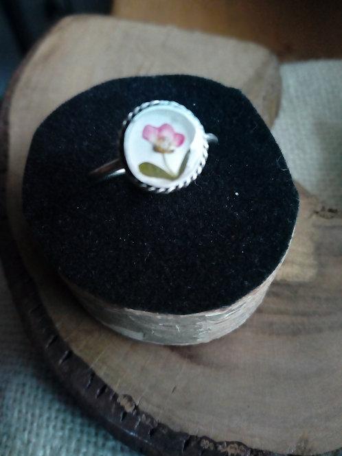 anellino regolabile, fiore di alisso,silver plate