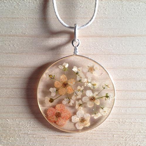 Ciondolo fiori veri tondo fondo trasparente