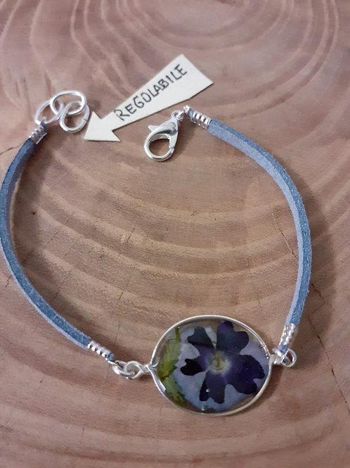 bracciale ovale,cordino carta da zucchero,fiori:verbena, petalo ortensia