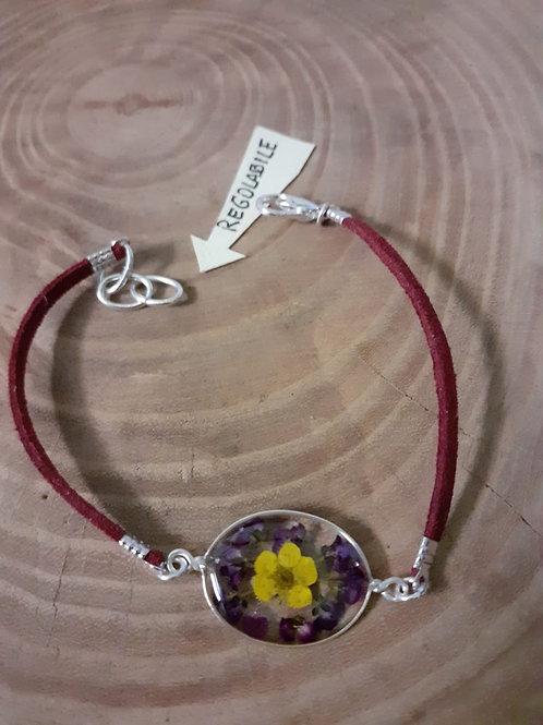 bracciale ovale, cordino bordeaux, fiori: alisso, biancospino