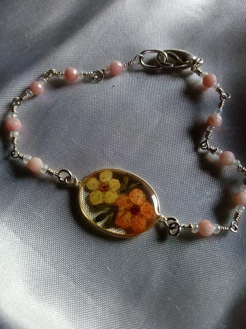 braccialetto catenina e pietre, free nichel, fiori:biancospino colorato
