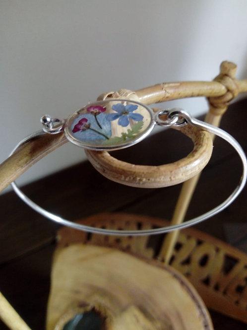 braccialetto filo rigido, free nichel, fiori:alisso, miosotys