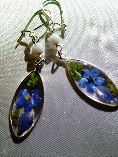 """orecchini a lancia,""""non ti scordar di me"""",monachella argento 925, pietra di luna"""