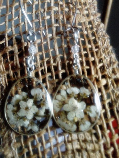 orecchini ovali trasparenti, monachella argento 925