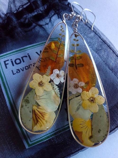 orecchini trasparenti, mon.arg.925,fiori:petalo tagete, bianc. ,felcina