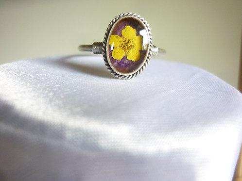 anello regolabile con fiore,argentatura silver plate free nichel
