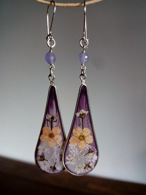 Orecchini viola chiaro trasparente, monachella arg.925