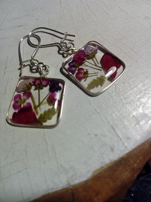 orecchini quadrati, monachella argento 925