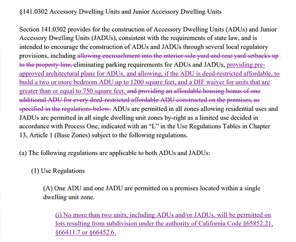 Updated ADU Code Revision for SB 9