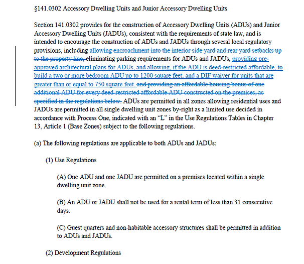 Proposed Revision of San Diego ADU Code
