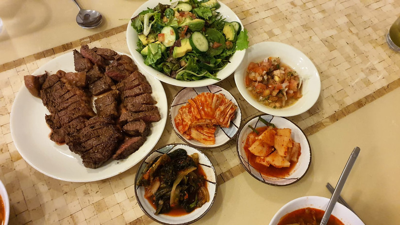 Picanha Beef with Kimchi, Korean Family's table