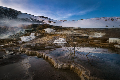 Mammoth Hot Springs Nightscape