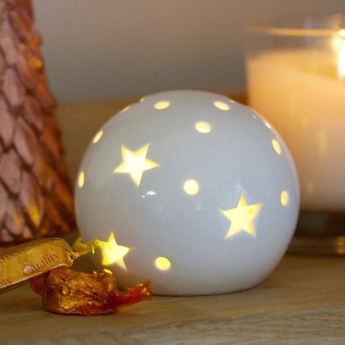 White Ceramic Ball Light Ornament