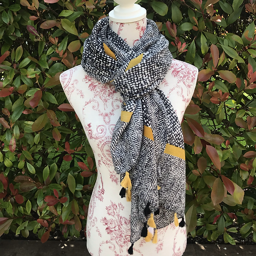 Black and Mustard Patterned Scarf