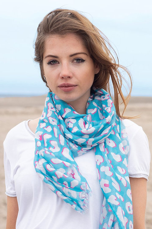 Turquoise Blue Leopard Print Scarf