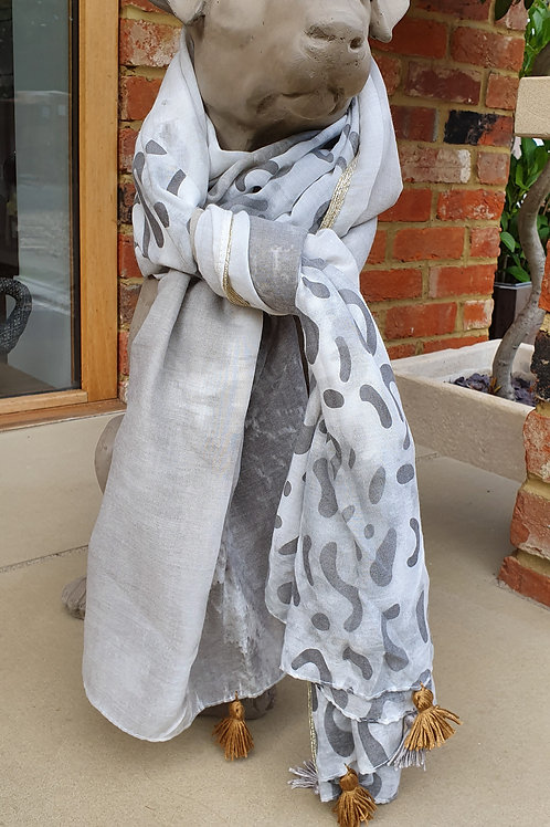 Grey Leopard Print and Trees Scarf