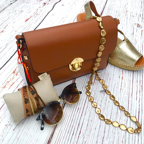 Brown Leather Stud Bag
