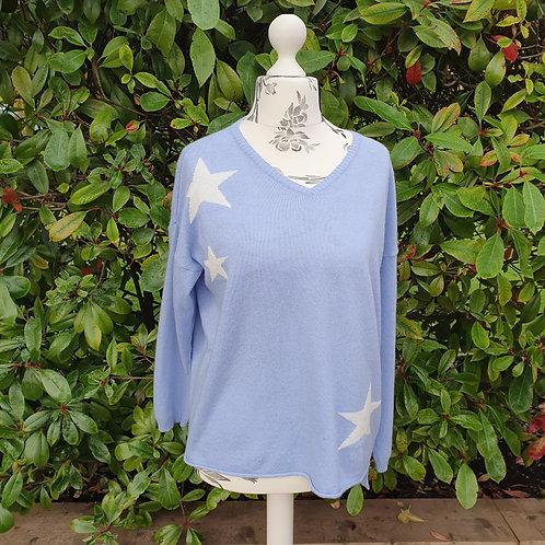 Cashmere Mix -Light Blue Star Jumper
