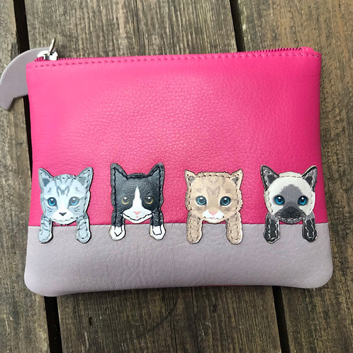 Leather Cats Coin Purse