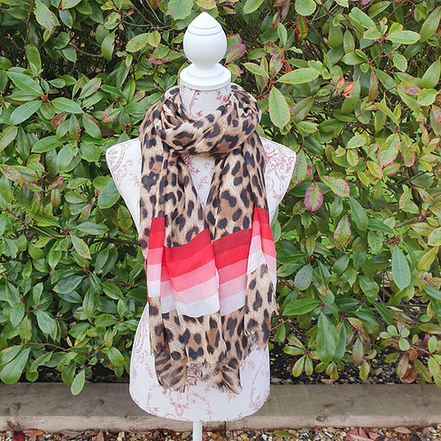 Vibrant Stripe and Leopard Print Scarf