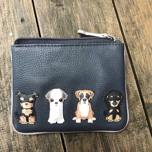 Leather Dogs Coin Purse