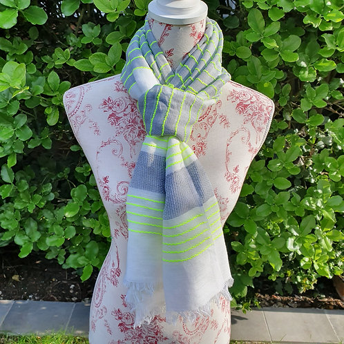 Grey with Neon Yellow Scarf