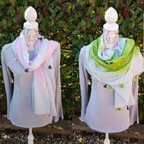 Cotton Tie Die Scarf with Tassels