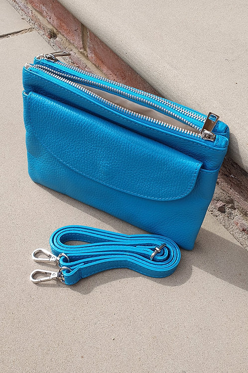Turquoise Leather Cross Body Bag