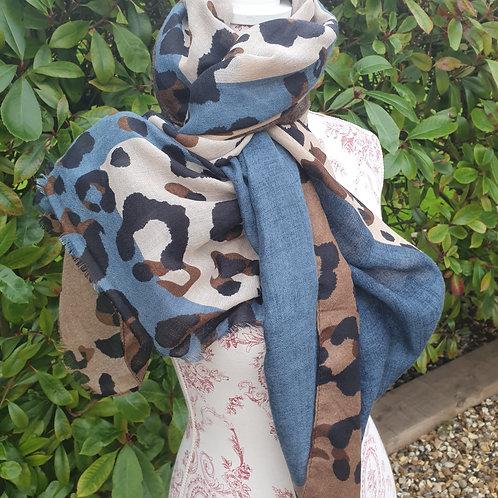 Leopard/Colour Block Scarf