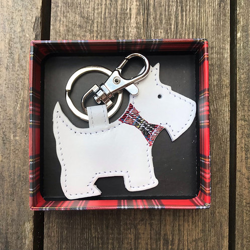 Leather Scottie Dog Keyring