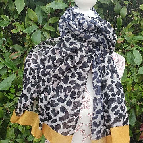 Leopard Print with Mustard Edged Scarf