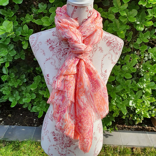 Peach, Pink and Raspberry Scarf