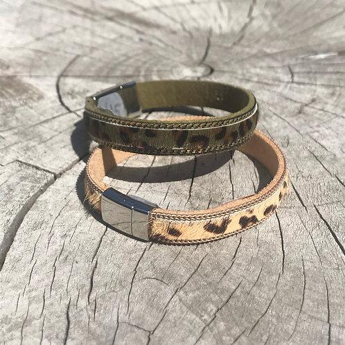 Cowhide Leopard Print Bracelet