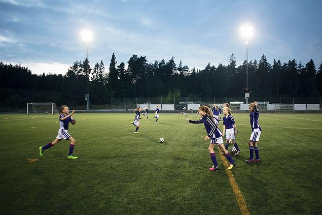 Girls Soccer Team Practising