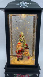 SOLD OUT Lighted Snow Globe Lantern with hand-painted accents - Santa & Snowman