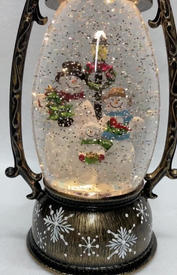 SOLD OUT Lighted Snow Globe Lantern with hand-painted accents - Snowman Family