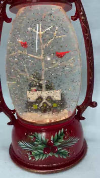 SOLD OUT Lighted Snow Globe Red Lantern with hand-painted accents - Cabin in the Woods