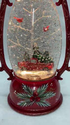 SOLD OUT Lighted Snow Globe Red Lantern with hand-painted accents - Red Truck
