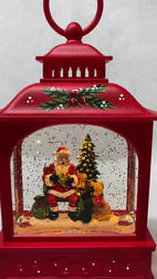 Lighted Snow Globe Red Lantern with hand-painted accents - Santa & Puppies