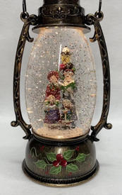 SOLD OUT Lighted Snow Globe Lantern with hand-painted accents - Carolers