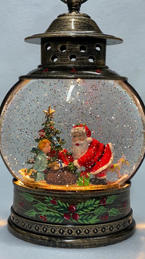 Lighted Snow Globe Lantern with hand-painted accents - Santa & Toy Bag