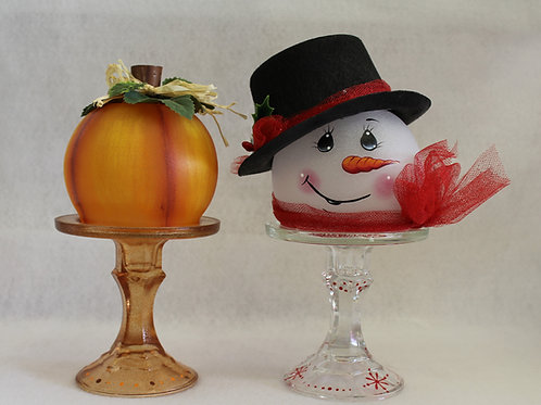 Pumpkin And Snowman Globes/Candle Holders E-Packet